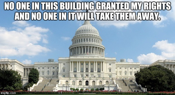 NO ONE IN THIS BUILDING GRANTED MY RIGHTS AND NO ONE IN IT WILL TAKE THEM AWAY. | image tagged in ugh congress | made w/ Imgflip meme maker