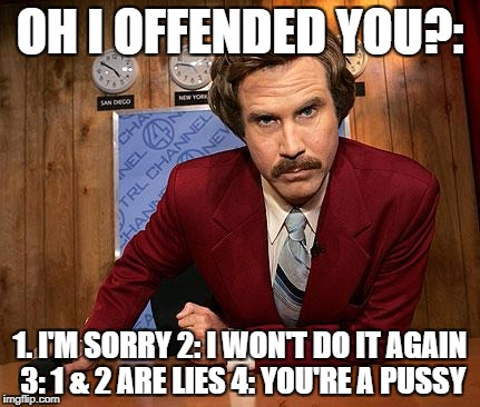 anchorman | OH I OFFENDED YOU?: 1. I'M SORRY 2: I WON'T DO IT AGAIN 3: 1 & 2 ARE LIES 4: YOU'RE A PUSSY | image tagged in anchorman | made w/ Imgflip meme maker