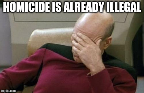 Captain Picard Facepalm Meme | HOMICIDE IS ALREADY ILLEGAL | image tagged in memes,captain picard facepalm | made w/ Imgflip meme maker