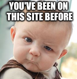 Skeptical Baby Meme | YOU'VE BEEN ON THIS SITE BEFORE | image tagged in memes,skeptical baby | made w/ Imgflip meme maker