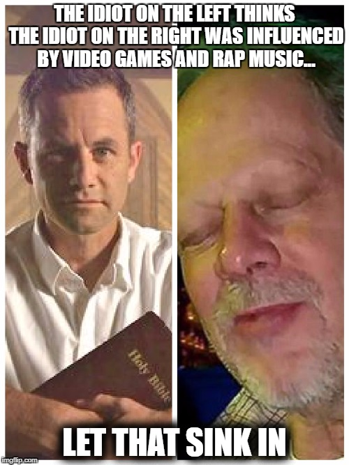 Kirk Cameron goes full idiot | THE IDIOT ON THE LEFT THINKS THE IDIOT ON THE RIGHT WAS INFLUENCED BY VIDEO GAMES AND RAP MUSIC... LET THAT SINK IN | image tagged in kirk and stephen paddock,kirk cameron,stephen paddock,vegas,massacre,video games | made w/ Imgflip meme maker