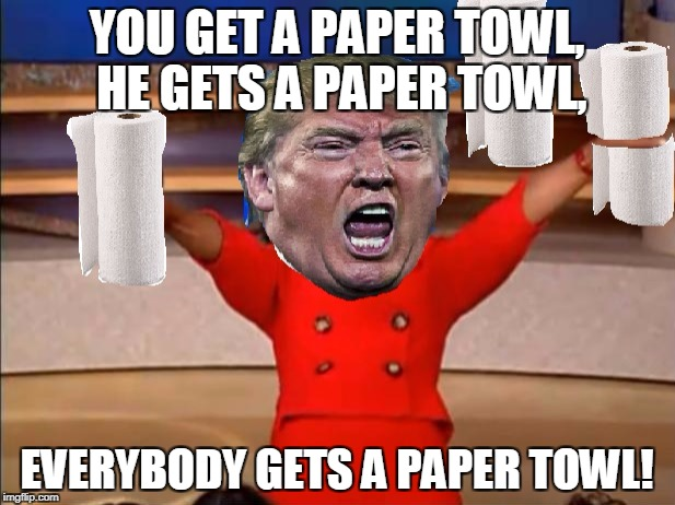 Trump paper towls | YOU GET A PAPER TOWL, HE GETS A PAPER TOWL, EVERYBODY GETS A PAPER TOWL! | image tagged in donald trump,trump,toilet paper,relief,memes | made w/ Imgflip meme maker