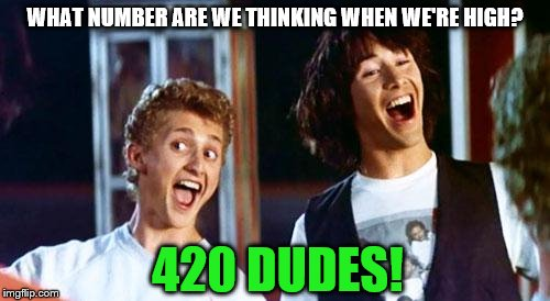 420 Dudes | WHAT NUMBER ARE WE THINKING WHEN WE'RE HIGH? 420 DUDES! | image tagged in bill and ted | made w/ Imgflip meme maker