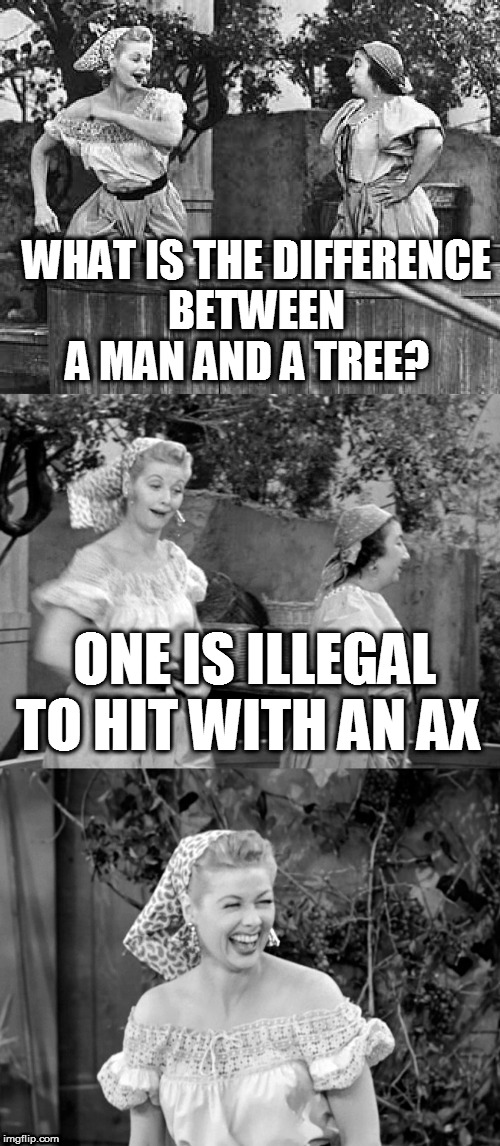 Lucille Ball Puns | WHAT IS THE DIFFERENCE BETWEEN A MAN AND A TREE? ONE IS ILLEGAL TO HIT WITH AN AX | image tagged in memes,lucille ball,lucille ball puns,jokes,i love lucy,men jokes | made w/ Imgflip meme maker