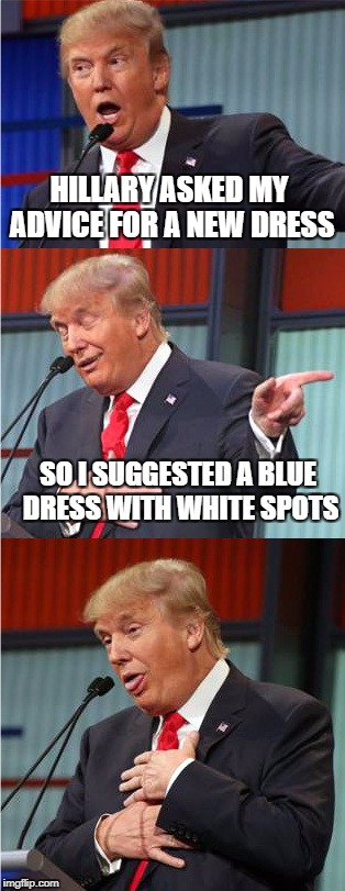 Bad Pun Trump | HILLARY ASKED MY ADVICE FOR A NEW DRESS SO I SUGGESTED A BLUE DRESS WITH WHITE SPOTS | image tagged in bad pun trump,memes,hillary,trump | made w/ Imgflip meme maker