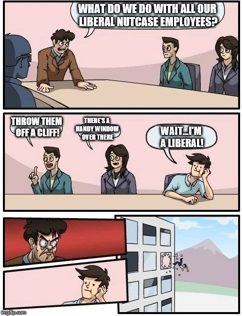 Boardroom Meeting Suggestion Meme | WHAT DO WE DO WITH ALL OUR LIBERAL NUTCASE EMPLOYEES? THROW THEM OFF A CLIFF! THERE'S A HANDY WINDOW OVER THERE WAIT...I'M A LIBERAL! | image tagged in memes,boardroom meeting suggestion | made w/ Imgflip meme maker