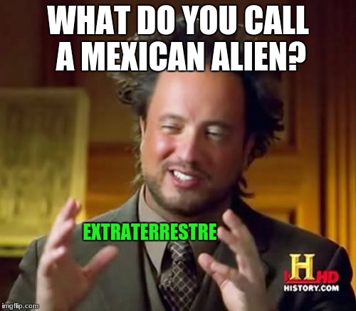 idk what im doing pls help me | WHAT DO YOU CALL A MEXICAN ALIEN? EXTRATERRESTRE | image tagged in memes,ancient aliens,extraterrestre,trump,deport,mexico | made w/ Imgflip meme maker