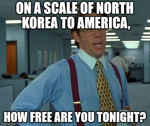 An odd, but quite useful, scale | ON A SCALE OF NORTH KOREA TO AMERICA, HOW FREE ARE YOU TONIGHT? | image tagged in memes,that would be great,america,north korea,free,tonight | made w/ Imgflip meme maker