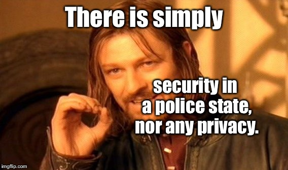 One Does Not Simply Meme | There is simply security in a police state, nor any privacy. | image tagged in memes,one does not simply | made w/ Imgflip meme maker