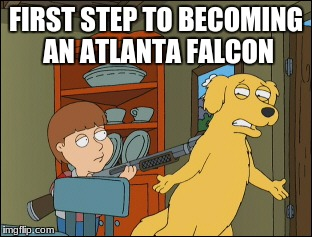 Old Yeller Family Guy | FIRST STEP TO BECOMING AN ATLANTA FALCON | image tagged in old yeller family guy | made w/ Imgflip meme maker