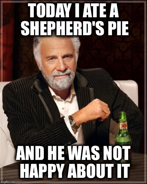 The Most Interesting Man In The World | TODAY I ATE A SHEPHERD'S PIE AND HE WAS NOT HAPPY ABOUT IT | image tagged in memes,the most interesting man in the world,funny | made w/ Imgflip meme maker