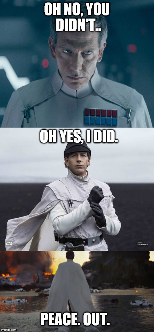 Best Director Krennic Reply | OH NO, YOU DIDN'T.. OH YES, I DID. PEACE. OUT. | image tagged in star wars no | made w/ Imgflip meme maker