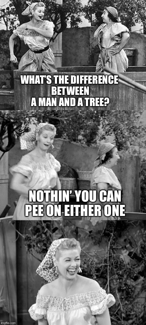 WHAT'S THE DIFFERENCE BETWEEN A MAN AND A TREE? NOTHIN' YOU CAN PEE ON EITHER ONE | made w/ Imgflip meme maker