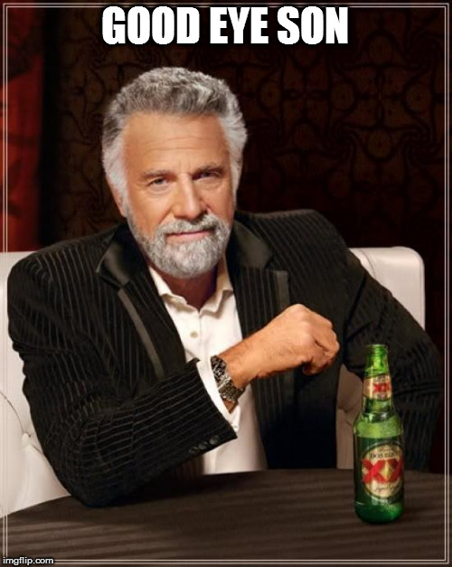 The Most Interesting Man In The World Meme | GOOD EYE SON | image tagged in memes,the most interesting man in the world | made w/ Imgflip meme maker