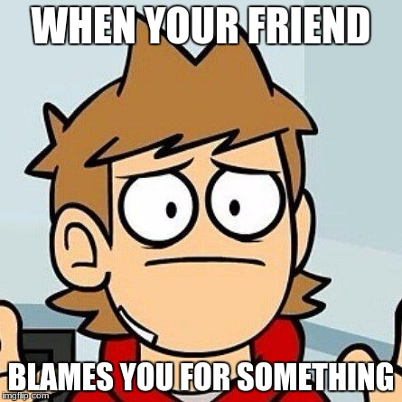 WHEN YOUR FRIEND BLAMES YOU FOR SOMETHING | image tagged in eddsworld | made w/ Imgflip meme maker
