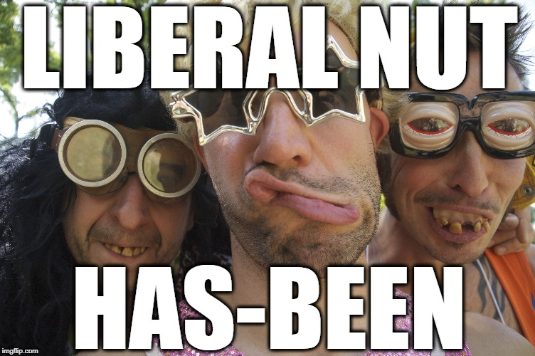 Liberal Nut & Has-been | LIBERAL NUT HAS-BEEN | image tagged in liberal has-been,liberal nut,crazy bastards | made w/ Imgflip meme maker