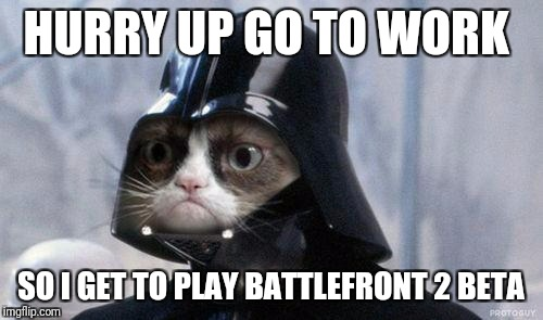 Grumpy Cat Star Wars Meme | HURRY UP GO TO WORK SO I GET TO PLAY BATTLEFRONT 2 BETA | image tagged in memes,grumpy cat star wars,grumpy cat | made w/ Imgflip meme maker