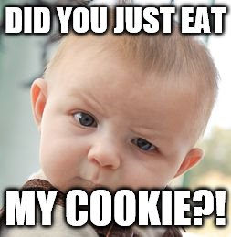 Skeptical Baby Meme | DID YOU JUST EAT MY COOKIE?! | image tagged in memes,skeptical baby | made w/ Imgflip meme maker