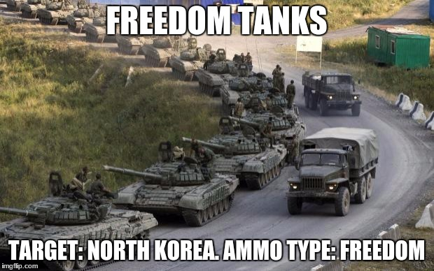 Tanks | FREEDOM TANKS TARGET: NORTH KOREA. AMMO TYPE: FREEDOM | image tagged in tanks | made w/ Imgflip meme maker