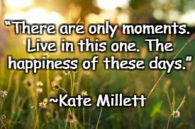 "Sunshine | ""There are only moments. Live in this one. The happiness of these days."" ~Kate Millett 