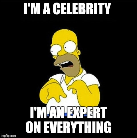 Homer Simpson Retarded | I'M A CELEBRITY I'M AN EXPERT ON EVERYTHING | image tagged in homer simpson retarded | made w/ Imgflip meme maker
