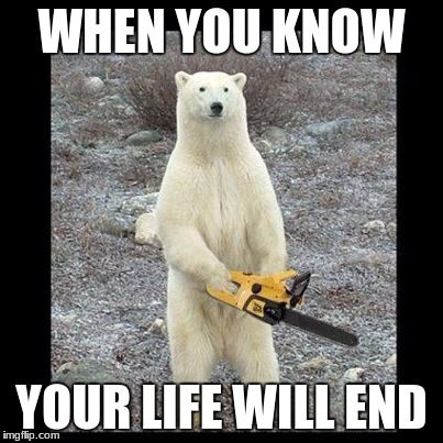 Chainsaw Bear Meme | WHEN YOU KNOW YOUR LIFE WILL END | image tagged in memes,chainsaw bear | made w/ Imgflip meme maker