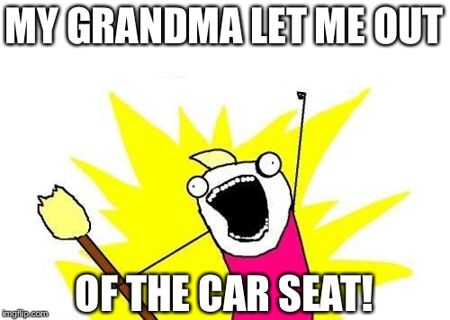 X All The Y Meme | MY GRANDMA LET ME OUT OF THE CAR SEAT! | image tagged in memes,x all the y | made w/ Imgflip meme maker