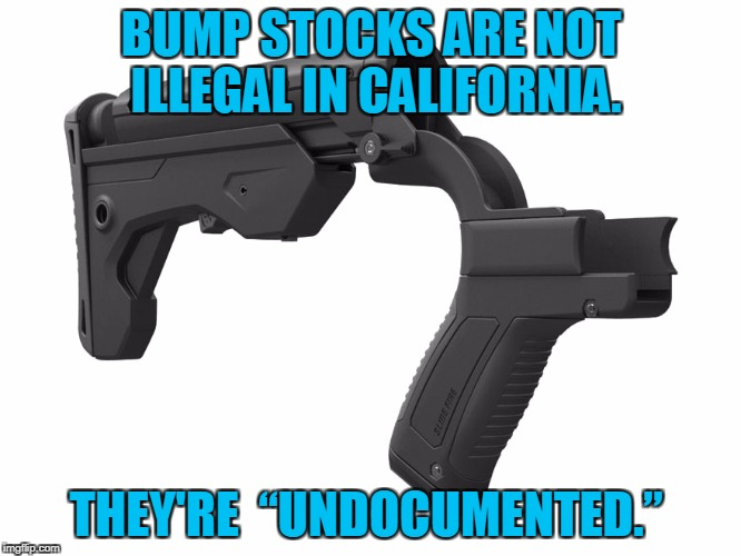 "They're Not Illegal, They're Undocumented | BUMP STOCKS ARE NOT ILLEGAL IN CALIFORNIA. THEY'RE  ""UNDOCUMENTED."" 