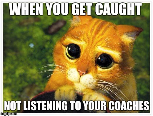 Sorry Kitty | WHEN YOU GET CAUGHT NOT LISTENING TO YOUR COACHES | image tagged in sorry kitty | made w/ Imgflip meme maker
