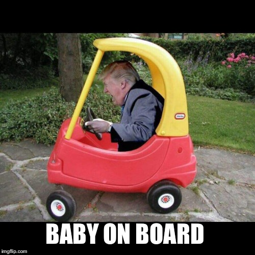 Trump baby moron | BABY ON BOARD | image tagged in trump moron,trump puerto rico,trump paper towels,trump russia,trump liar | made w/ Imgflip meme maker