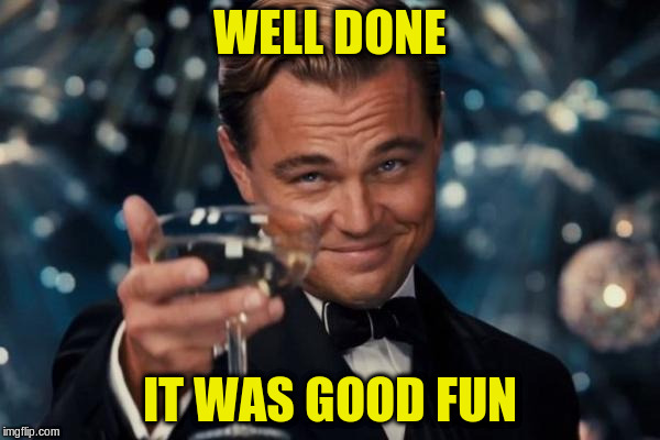 Leonardo Dicaprio Cheers Meme | WELL DONE IT WAS GOOD FUN | image tagged in memes,leonardo dicaprio cheers | made w/ Imgflip meme maker