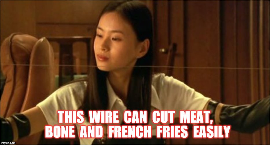 THIS  WIRE  CAN  CUT  MEAT,  BONE  AND  FRENCH  FRIES  EASILY | made w/ Imgflip meme maker