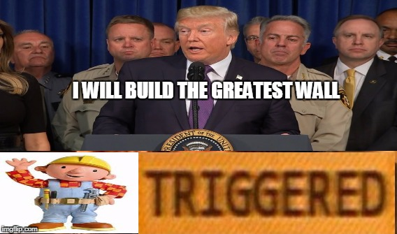 I WILL BUILD THE GREATEST WALL | image tagged in triggered,trump,bob builder,wall | made w/ Imgflip meme maker
