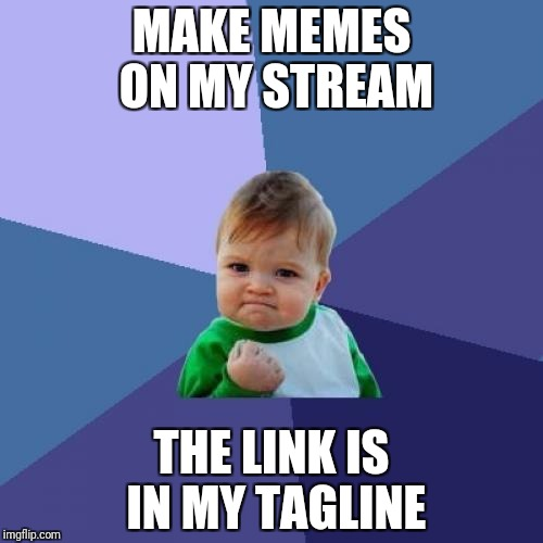 Success Kid Meme | MAKE MEMES ON MY STREAM THE LINK IS IN MY TAGLINE | image tagged in memes,success kid | made w/ Imgflip meme maker
