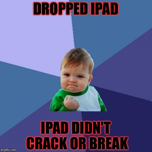 Success Kid Meme | DROPPED IPAD IPAD DIDN'T CRACK OR BREAK | image tagged in memes,success kid,ipad | made w/ Imgflip meme maker