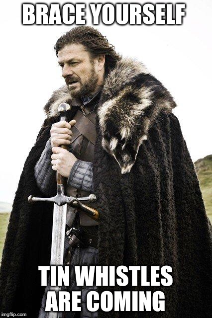 Brace Yourself | BRACE YOURSELF TIN WHISTLES ARE COMING | image tagged in brace yourself | made w/ Imgflip meme maker