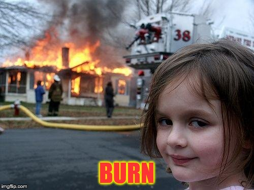 Disaster Girl Meme | BURN | image tagged in memes,disaster girl | made w/ Imgflip meme maker