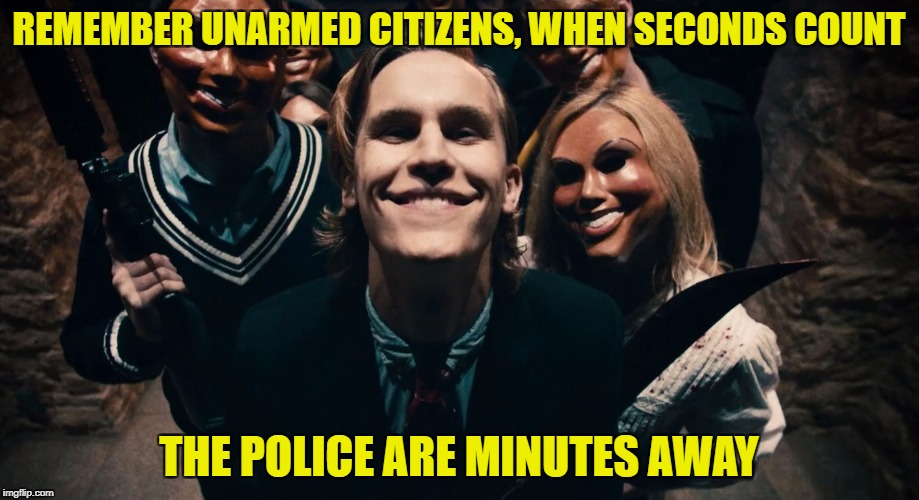 Something I always remind my friends when they ask why I have my guns. | REMEMBER UNARMED CITIZENS, WHEN SECONDS COUNT THE POLICE ARE MINUTES AWAY | image tagged in liberal vs conservative,gun control,gun laws,the purge | made w/ Imgflip meme maker