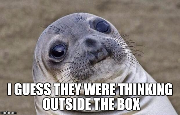Awkward Moment Sealion Meme | I GUESS THEY WERE THINKING OUTSIDE THE BOX | image tagged in memes,awkward moment sealion | made w/ Imgflip meme maker