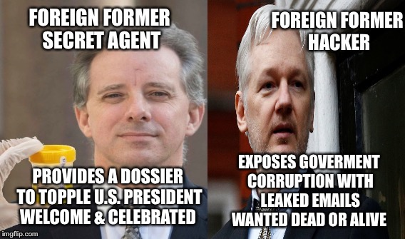Christopher Steele & Julian assange | PROVIDES A DOSSIER TO TOPPLE U.S. PRESIDENT WELCOME & CELEBRATED EXPOSES GOVERMENT CORRUPTION WITH LEAKED EMAILS WANTED DEAD OR ALIVE | image tagged in 007,julian assange,john podesta,dncleaks | made w/ Imgflip meme maker