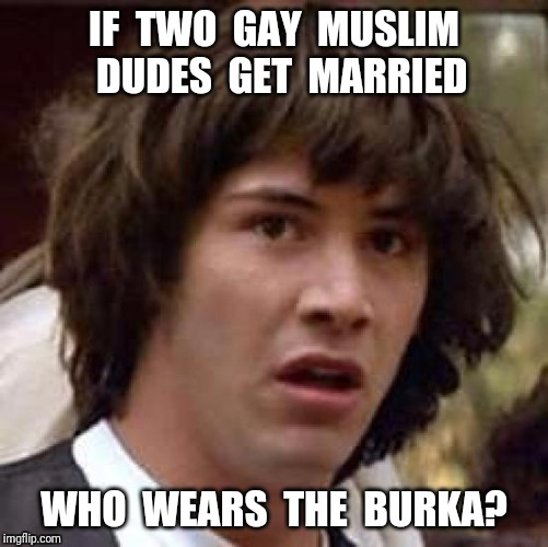 Or who throws who off the building? | IF  TWO  GAY  MUSLIM  DUDES  GET  MARRIED WHO  WEARS  THE  BURKA? | image tagged in memes,conspiracy keanu,burka,gay | made w/ Imgflip meme maker