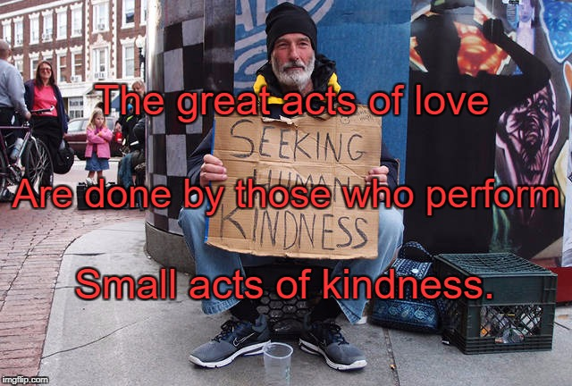 Seeking Human Kindness | The great acts of love Small acts of kindness. Are done by those who perform | image tagged in seeking human kindness | made w/ Imgflip meme maker