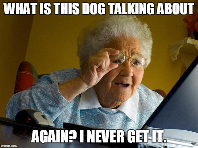 Grandma Finds The Internet Meme | WHAT IS THIS DOG TALKING ABOUT AGAIN? I NEVER GET IT. | image tagged in memes,grandma finds the internet | made w/ Imgflip meme maker