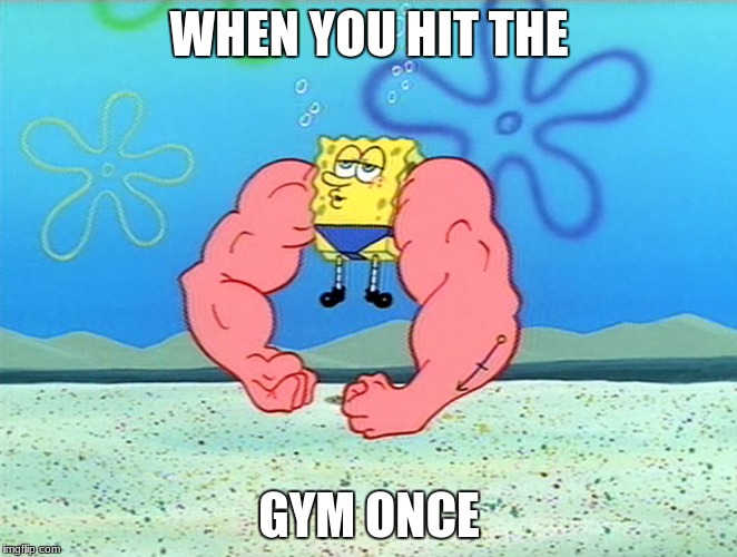 WHEN YOU HIT THE GYM ONCE | image tagged in sponge bob flex | made w/ Imgflip meme maker
