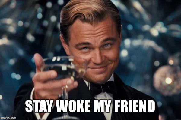 STAY WOKE MY FRIEND | image tagged in memes,leonardo dicaprio cheers | made w/ Imgflip meme maker