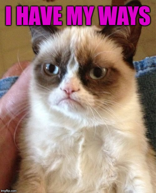 Grumpy Cat Meme | I HAVE MY WAYS | image tagged in memes,grumpy cat | made w/ Imgflip meme maker