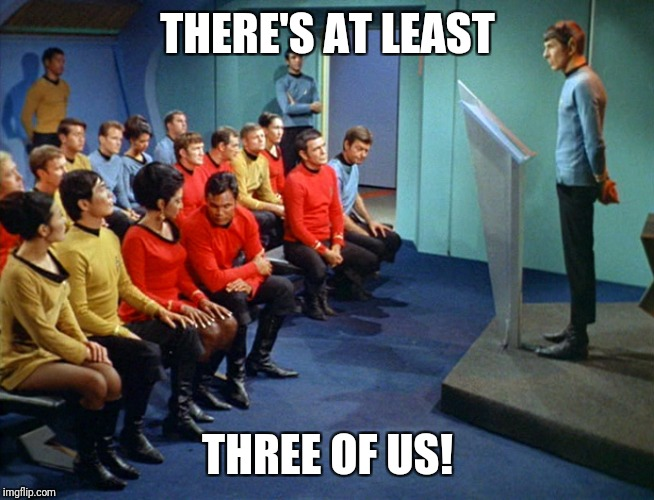 Star Trek Meeting | THERE'S AT LEAST THREE OF US! | image tagged in star trek meeting | made w/ Imgflip meme maker