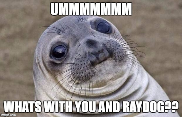 Awkward Moment Sealion Meme | UMMMMMMM WHATS WITH YOU AND RAYDOG?? | image tagged in memes,awkward moment sealion | made w/ Imgflip meme maker