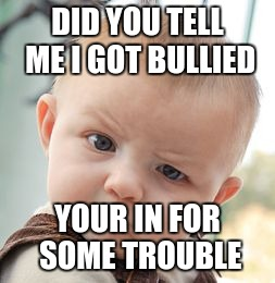 Skeptical Baby Meme | DID YOU TELL ME I GOT BULLIED YOUR IN FOR SOME TROUBLE | image tagged in memes,skeptical baby | made w/ Imgflip meme maker