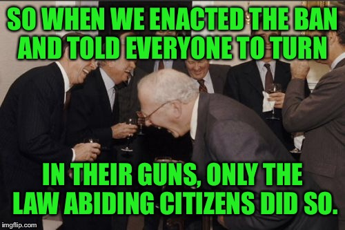 Laughing Men In Suits Meme | SO WHEN WE ENACTED THE BAN AND TOLD EVERYONE TO TURN IN THEIR GUNS, ONLY THE LAW ABIDING CITIZENS DID SO. | image tagged in memes,laughing men in suits | made w/ Imgflip meme maker